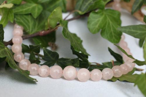 Collana con sfere di quarzo rosa